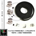 5m T2.5 Timing Belt with 3 Pulleys 16 teeth & grubscrews - RepRap - 3D printer Stampa 3D