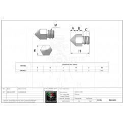 Messingdüse Mod MK8 Ø0.4 mm - 1.75 mm filament Filamento 1.75mm 10040203 DHM