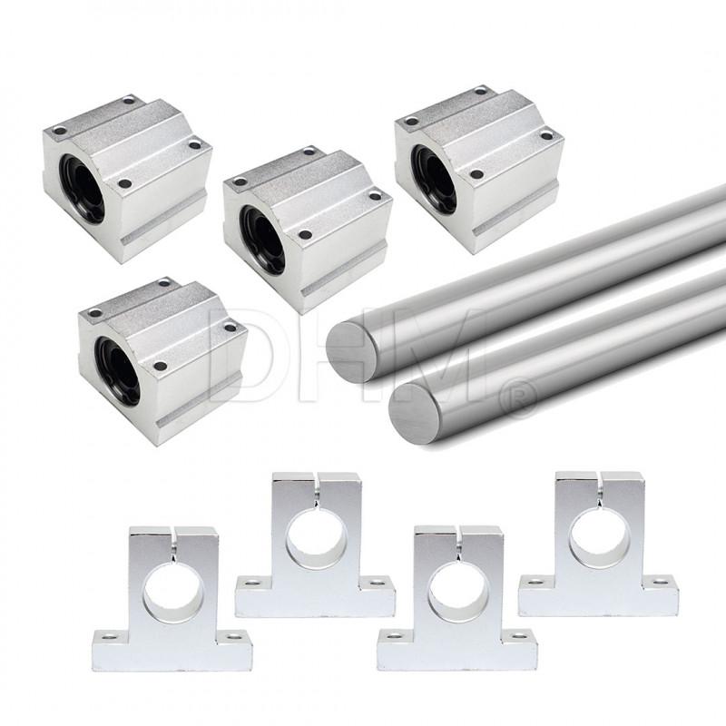 Kit guide lisce acciaio temprato rettificato Ø30 x2 1000mm 1m x4 SK30 SC30UU CNC Albero temprato18010704 DHM