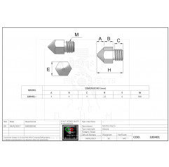 Messingdüse Mod A Ø0.8 mm - 1.75 mm filament Filamento 1.75mm 10040106 DHM